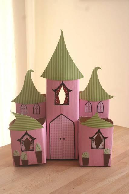 Artesanato com Caixa de Leite Castelo cor de rosa