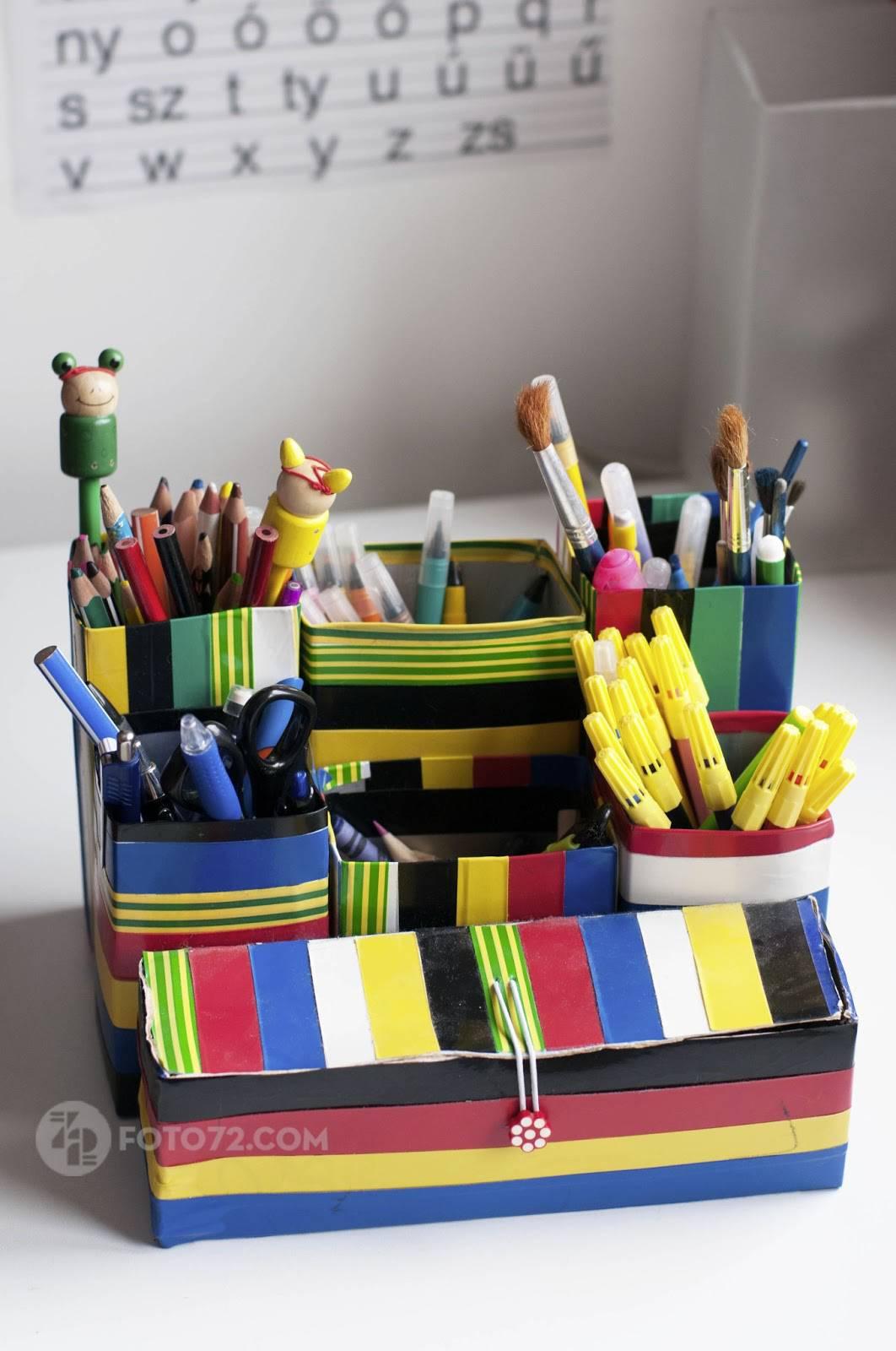 Artesanato com Caixa de Leite Organizador de lapis