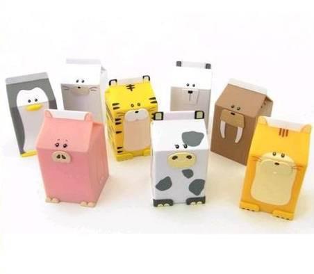 Artesanato com Caixa de Leite animais de brinquedo