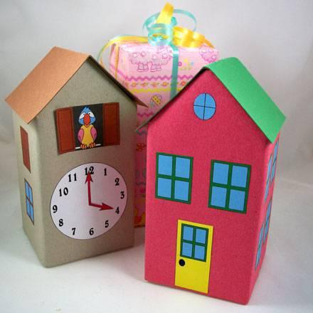 Artesanato com Caixa de Leite casa de brinquedo