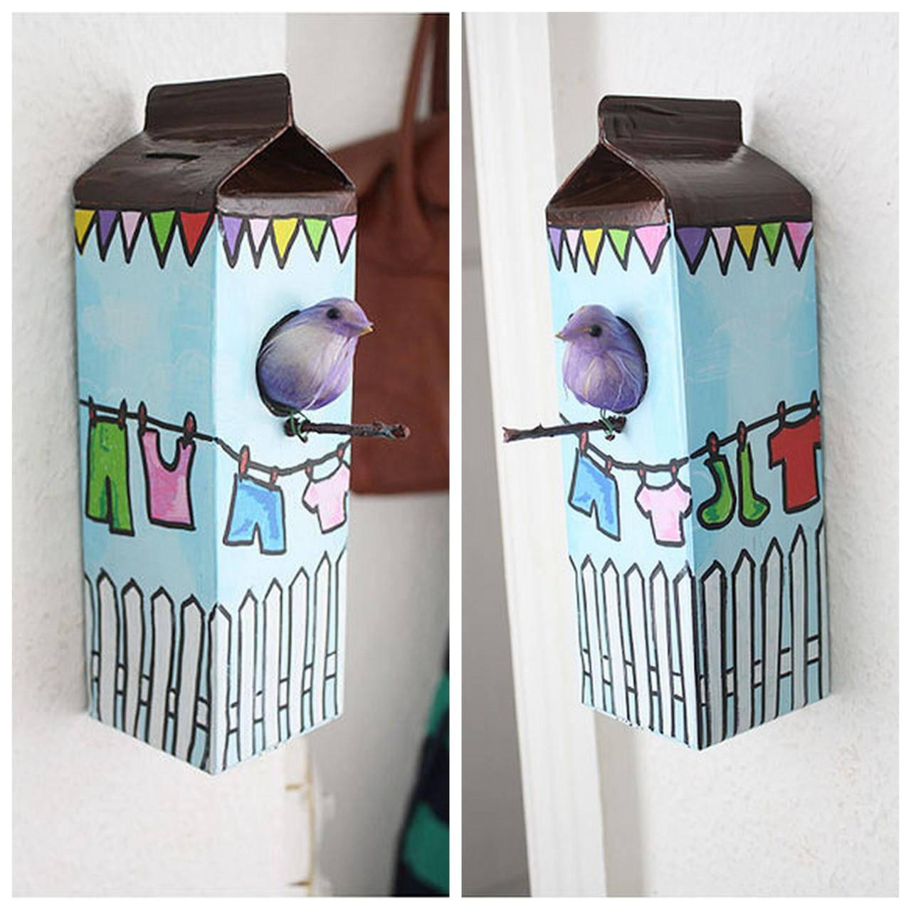 Artesanato com Caixa de Leite decoração passarinho