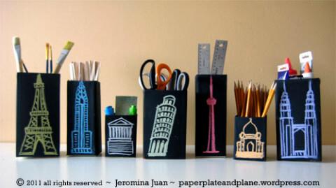 Artesanato com Caixa de Leite organizador pretos