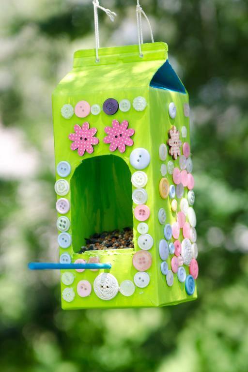 Artesanato com Caixa de Leite passarinho