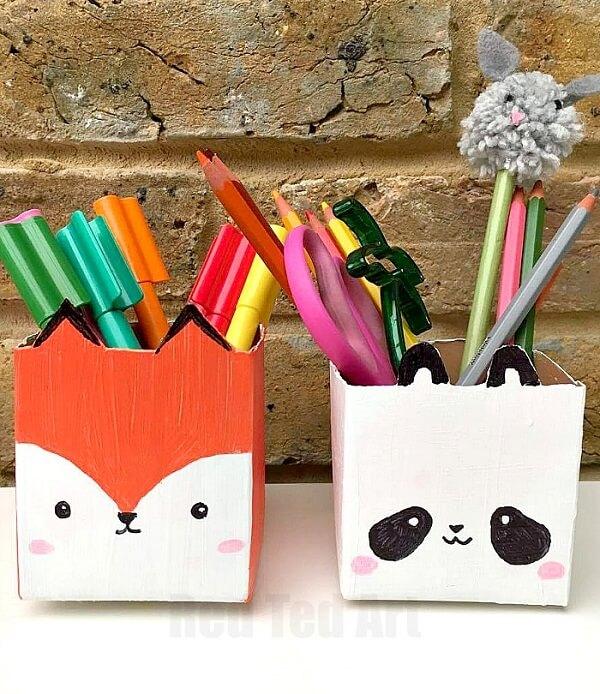 Artesanato com Caixa de Leite  porta caneta raposa