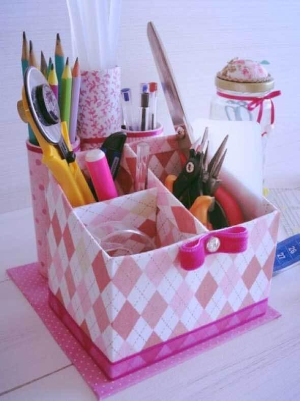 Artesanato com Caixa de Leite porta trecos rosa