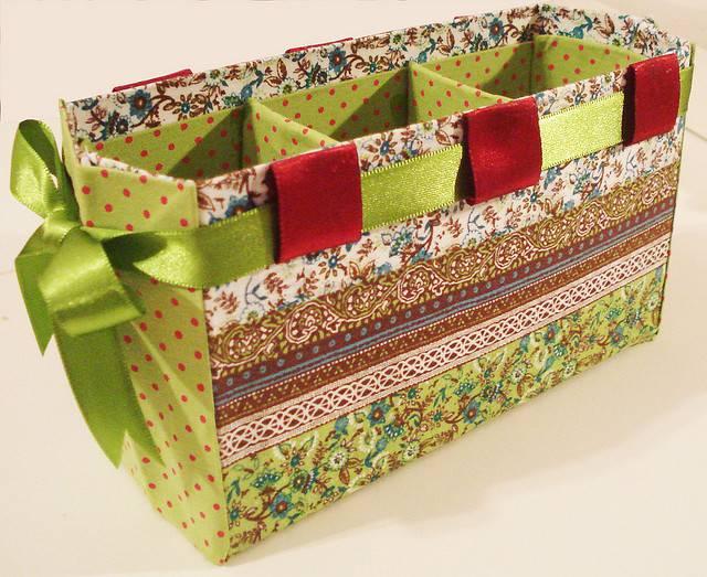 Artesanato com Caixa de Leite porta trecos verde