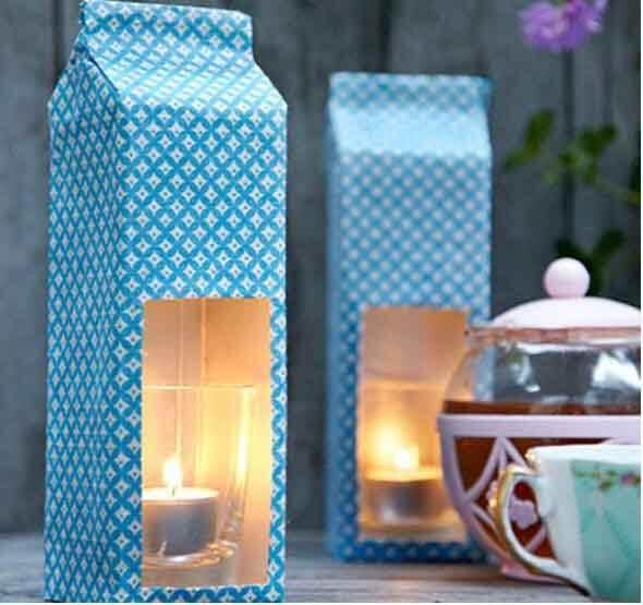 Artesanato com Caixa de Leite porta velas
