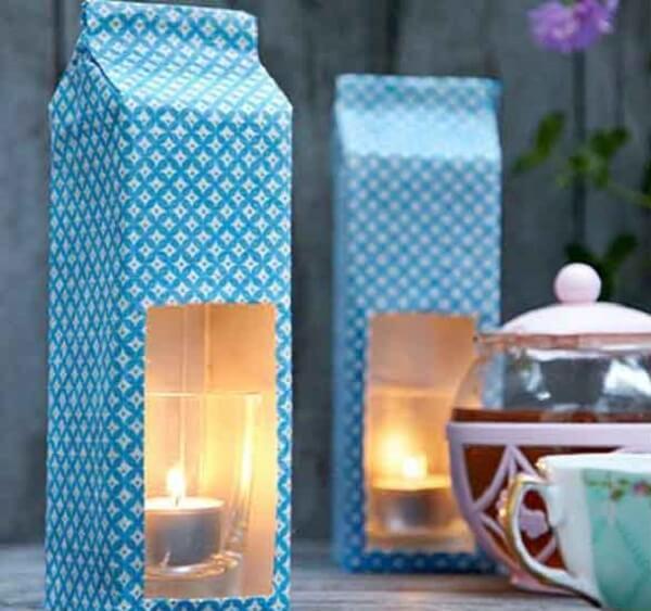 A caixa de leite serve de suporte para as vela