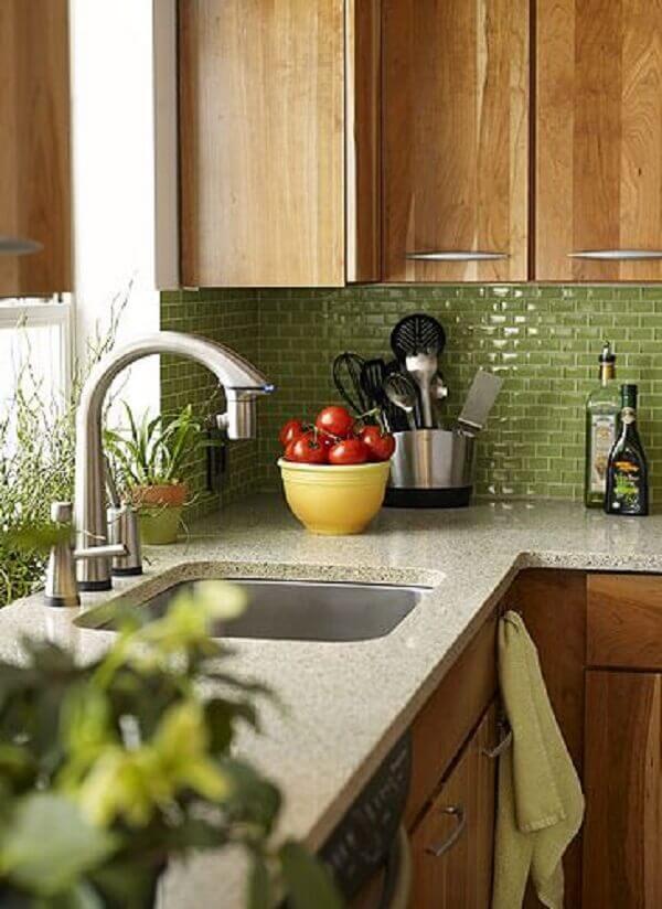 Pastilhas para cozinha na cor verde