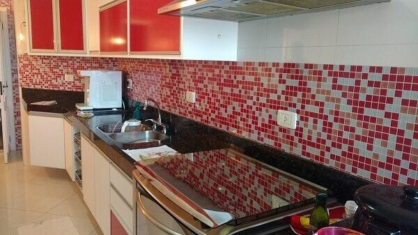 Pastilhas para cozinha na cor vermelha