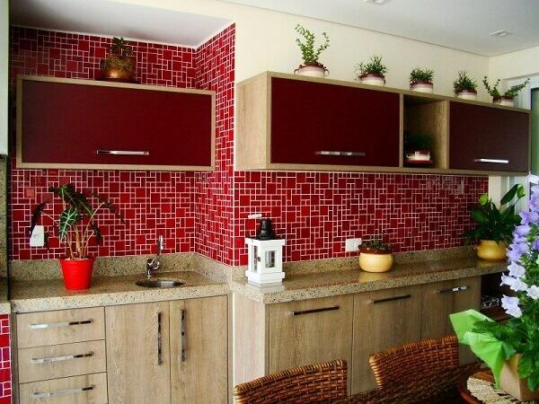 Pastilhas para cozinha vermelha