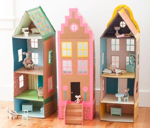 Artesanato com caixa de leite forma lindas casas de bonecas