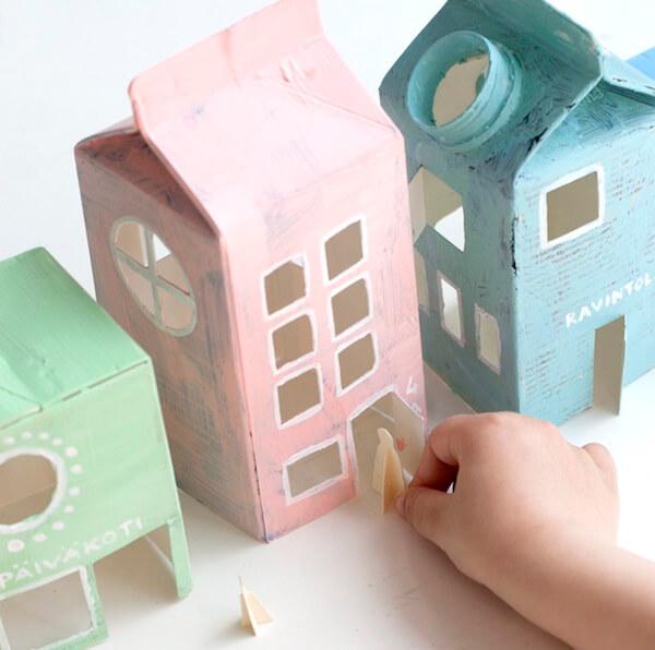 Artesanato com caixa de leite forma lindas casinhas