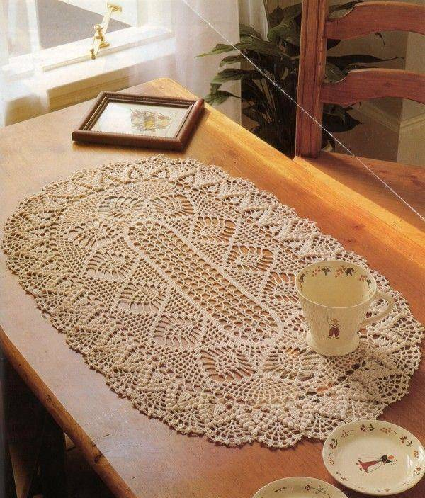 caminho de mesa de croche bege