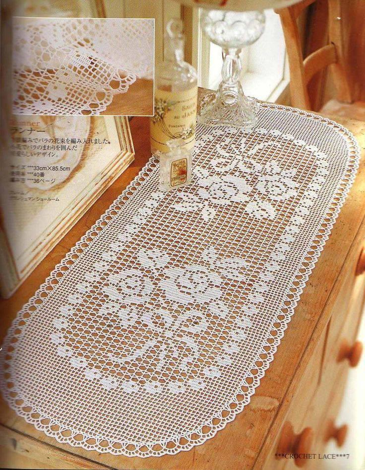caminho de mesa de croche branco ace67