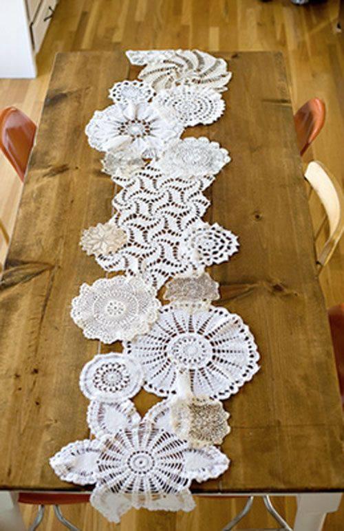 50 fotos de caminho de mesa de croch encantadores for Caminos para mesas redondas