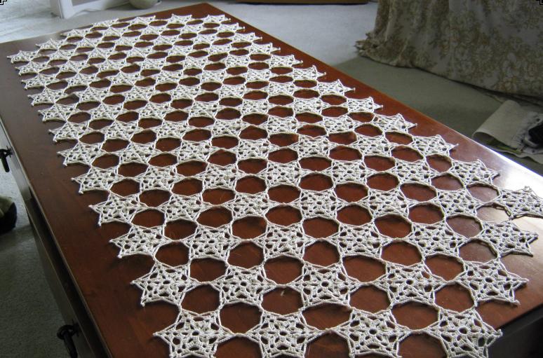 caminho de mesa de croche largo