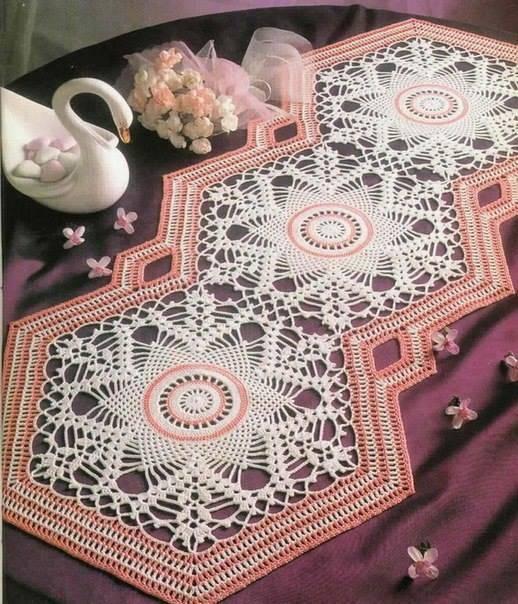 caminho de mesa de croche losangulo