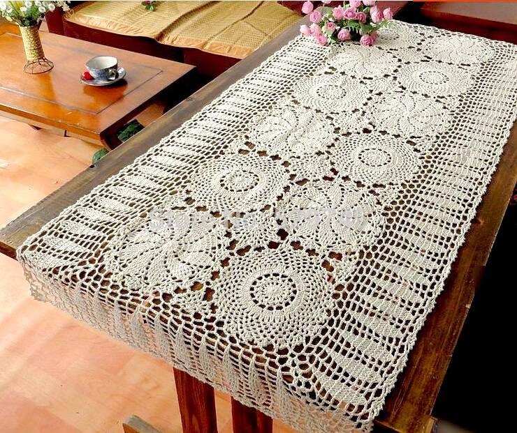 caminho de mesa de croche retangular branco
