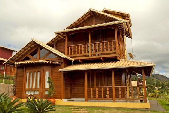 casas de madeira - casa de madeira com dois andares