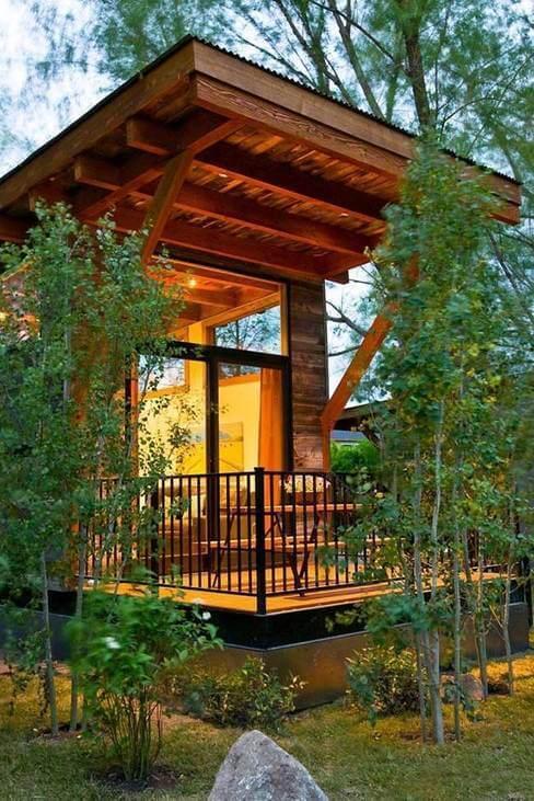 casas de madeira - casa de madeira com sacada