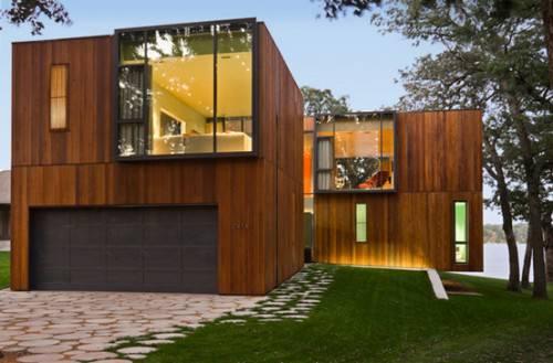 casas de madeira com fachada com vidro