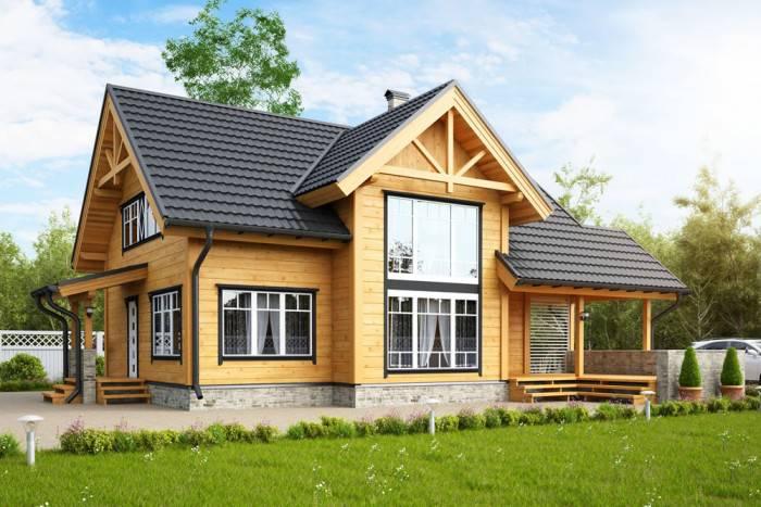 casas de madeira com jardim