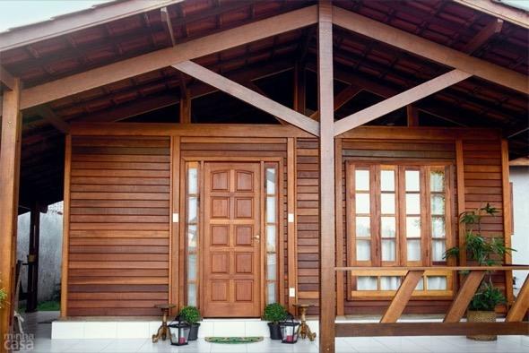 casas de madeira entrada da casa