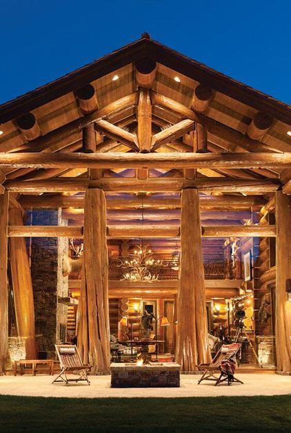 casas de madeira - entrada de casa de madeira grande