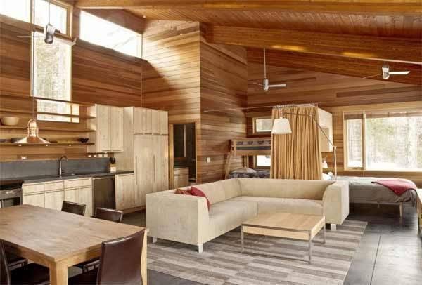 casas de madeira por dentro da sala