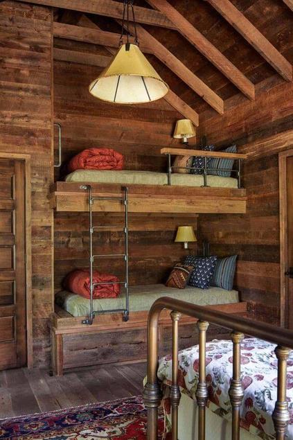 casas de madeira - quarto compartilhado de casa de madeira