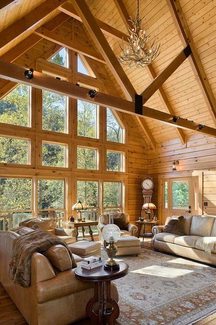 casas de madeira - sala de casa de madeira