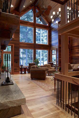 casas de madeira - sala de estar em uma casa de madeira