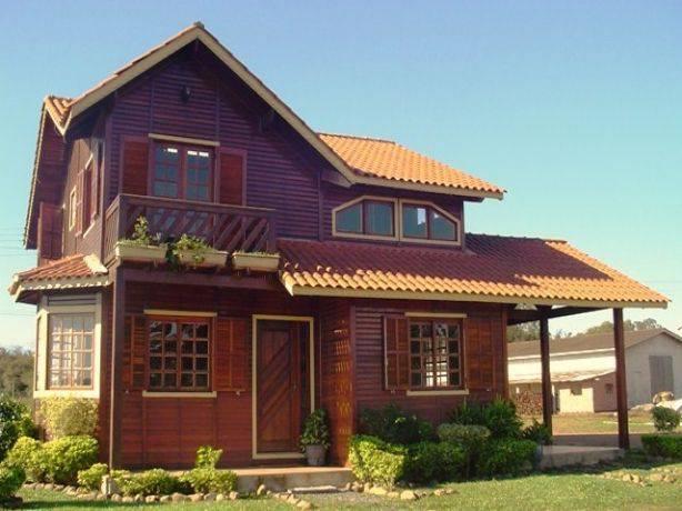 casas de madeira sobrado bem estruturada