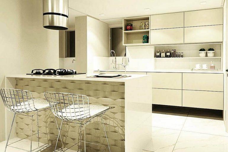decoração moderna e sofisticada para cozinha amaricana pequena branca