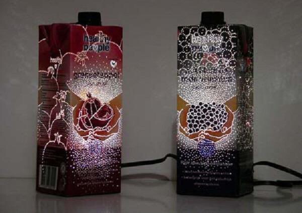 Faça uma linda luminária com artesanato com caixa de leite