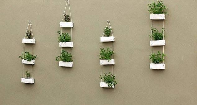 jardim suspenso Artesanato com Caixa de Leite