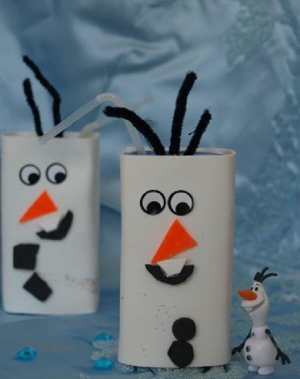 A estrutura da caixa de leite imita o Olaf do filme Frozen