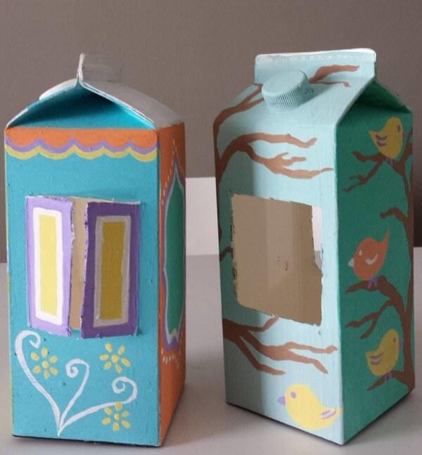 Construa uma casinha simples com caixa de leite