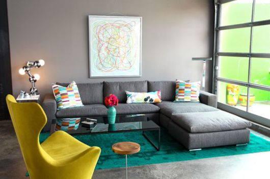 Sala De Estar Amarela E Cinza ~  do sofá com chaise cinza e a poltrona amarela ficou perfeito