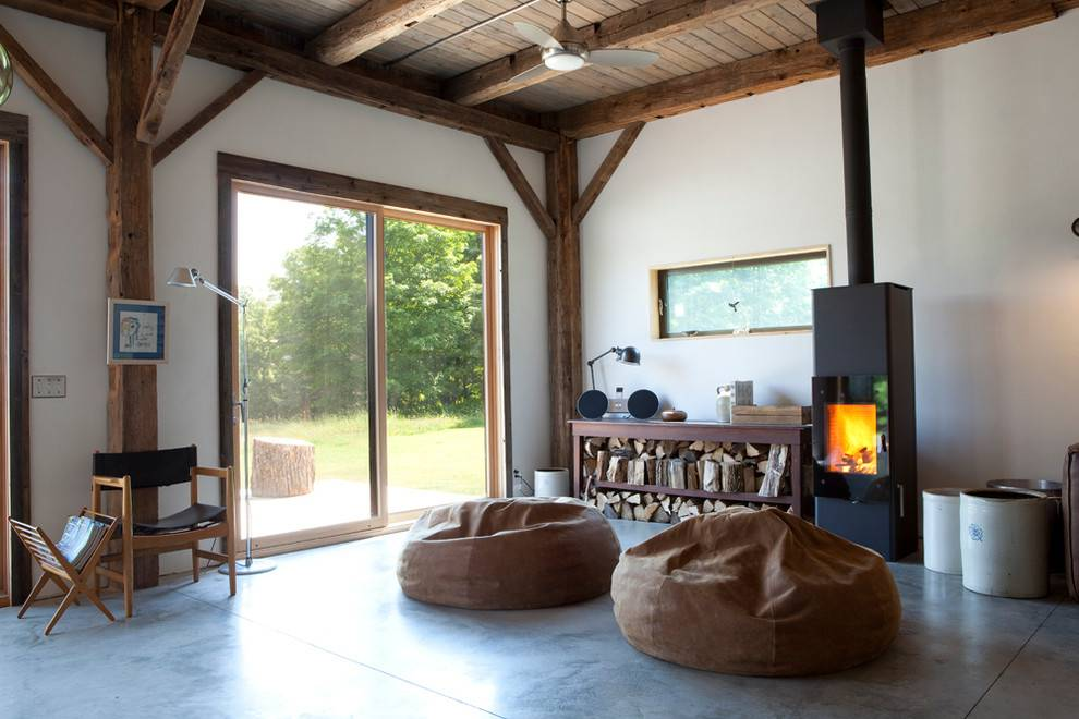 standing- Sala de estar com piso de cimento queimado