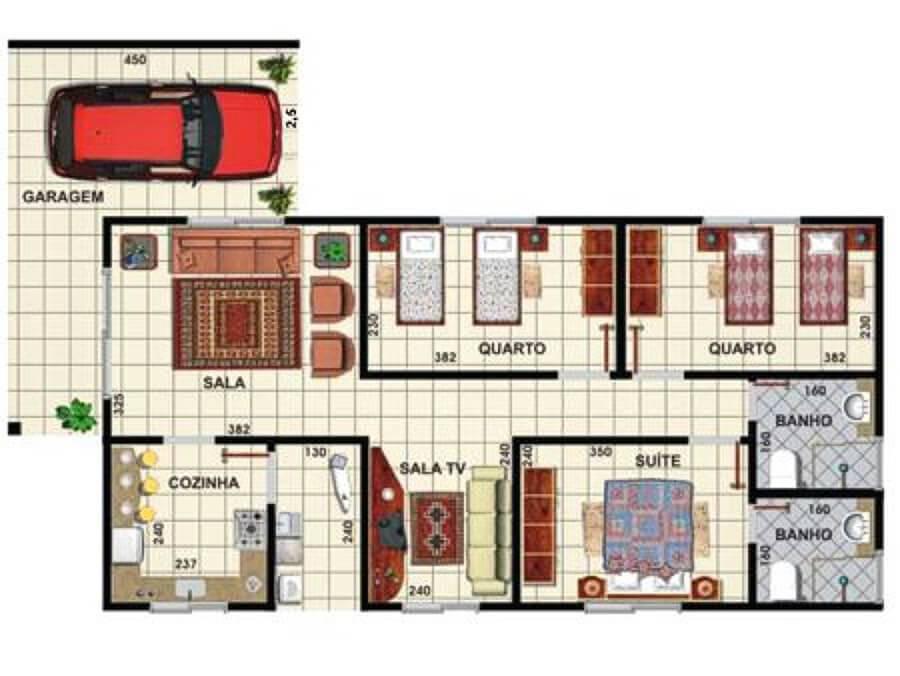 2D plantas de casas com suite de casal e dois quartos