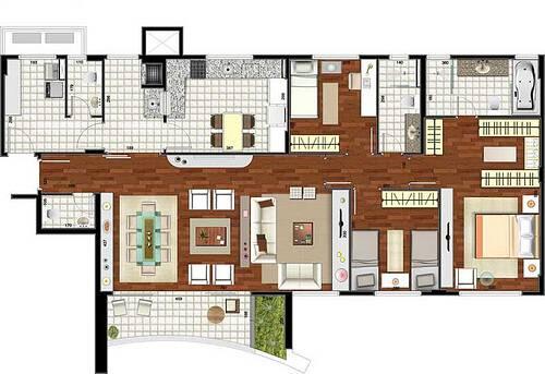 2d plantas de casas grandes 3 quartos