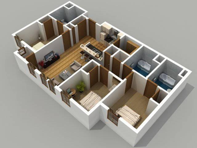 4b2plantas de casas com 3 quartos