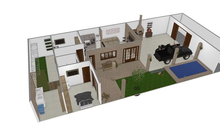 As plantas de casas dimensionam o espaço