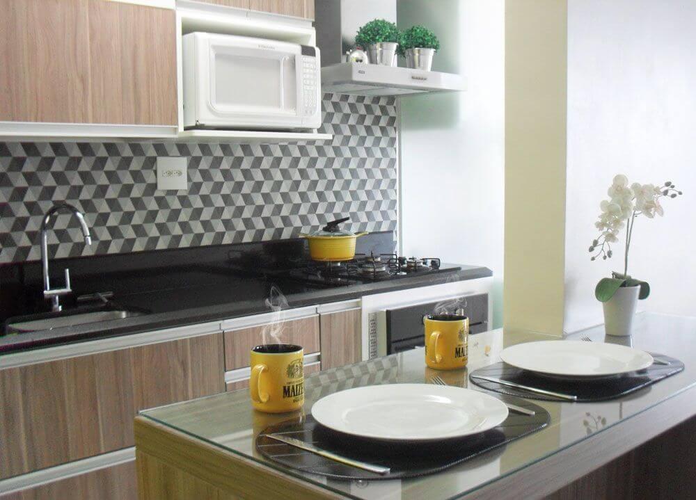 Cozinhas modernas com rodabanca geométrica Projeto de Casa3 Casa3