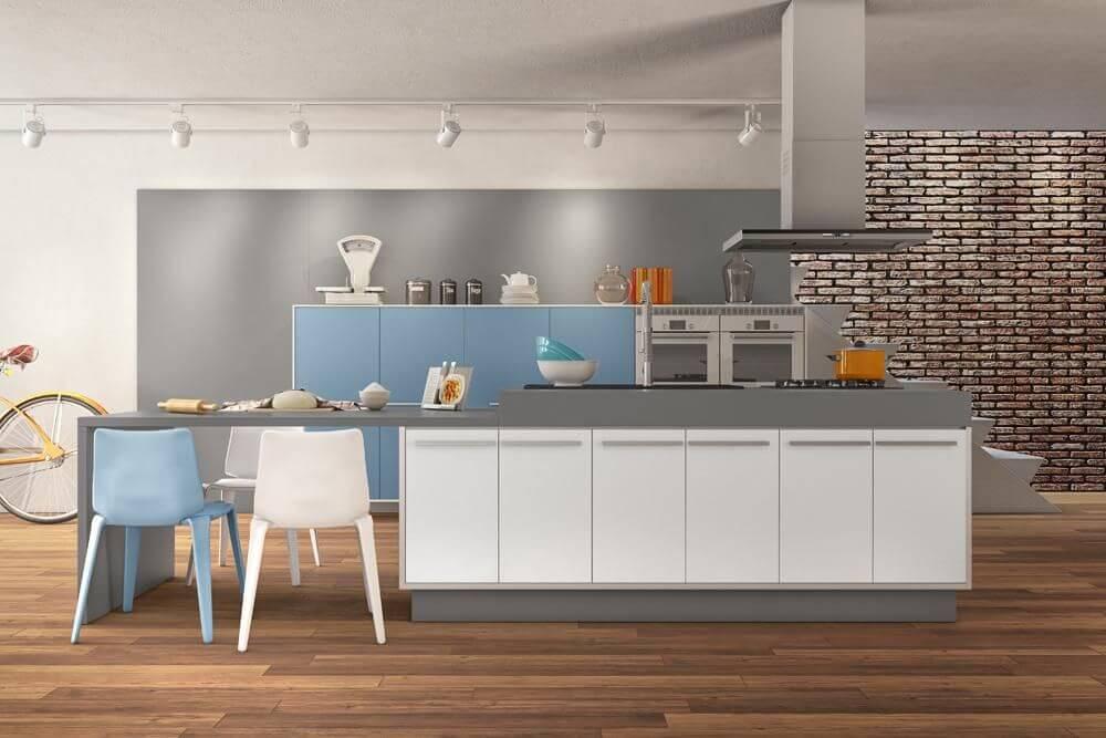 Cozinhas modernas planejadas com cores em tons claros Projeto de Rosangela Romão