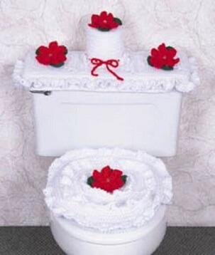 Jogo de banheiro de crochê branco com flores vermelhas