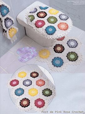 Jogo de banheiro de crochê com flores coloridas