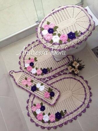 Jogo de banheiro de crochê com porta-papéis higiênicos